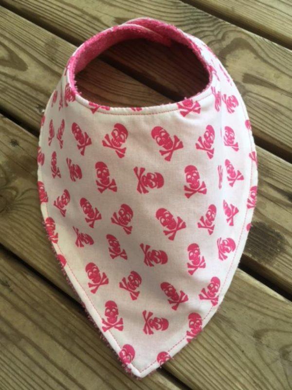 bandana, bavoir, coton, maman cactus, fait main, imprimé, éponge, bébé, tête de mort, rose, rose pale