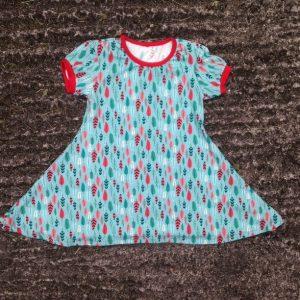 maman cactus, robe, robe qui tourne, jersey, fait main, cousu main, bleue, plumes