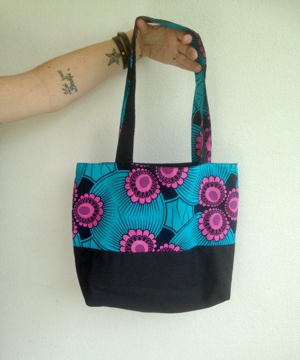 fait main, cousus main, maman cactus, sac, wax, turquoise, noir