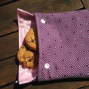 sac à goûter, violet, rose,, zero dechets, maman cactus, pic-nic, lunch, réutilisable