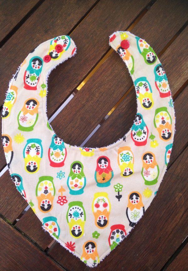 matriochka, multicolores, bavoir, bandana, fait main, cousu main, maman cactus, pratique, poussées de dents, coton, coton bio, stylé, maman cactus,